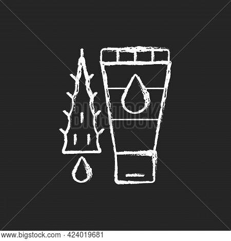 Using Moisturizing Lotion Chalk White Icon On Dark Background. Gel With Aloe Vera For Sunburn Treatm