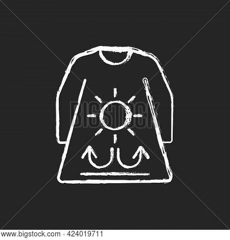 Long Sleeves And Loose Clothing Chalk White Icon On Dark Background. Female Outfit For Summer Weathe