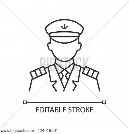 Male Captain Linear Icon. Person Controling All Cruise Crew. Providing Best Service. Thin Line Custo
