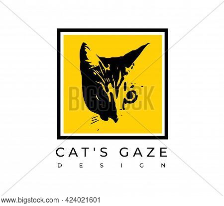 Frame With A Cat Print On A Yellow Background. Vector Illustration Of A Cats Gaze.