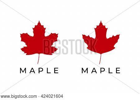 Maple Leaf Logo Isolated On White Background. Vector Illustration