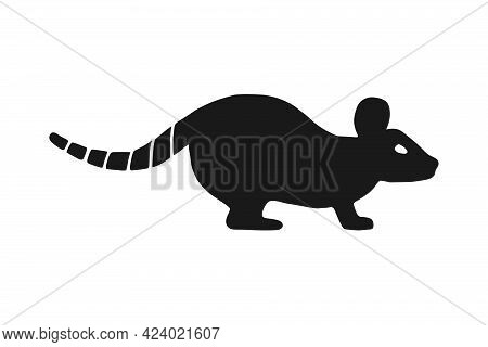 Vector Illustration Of A Rodent, A Rat On A White Background.