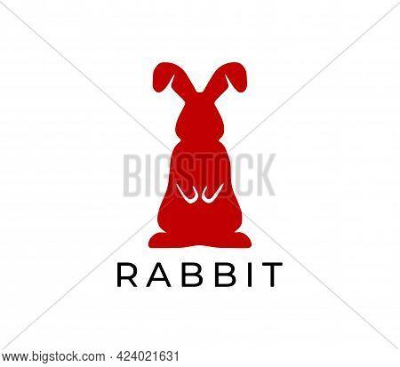 Red Rabbit Logo On White Background. Vector Illustration.