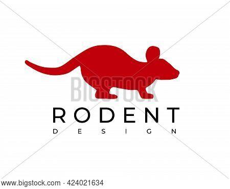 Red Rodent Logo On White Background. Vector Illustration.