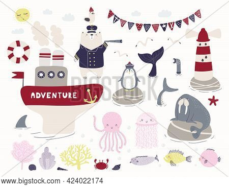 Sea, Ocean Clipart Set, Bear Sailor, Ship, Lighthouse, Animals, Fish, Corals, Isolated On White. Han