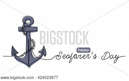 Anchor With Rope Simple Vector Banner, Poster, Background. One Continuous Line Drawing Of Sea Sign A