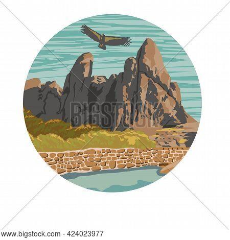 The Bird Flies High In The Mountains. High-quality Illustration By Hand. High Quality Illustration