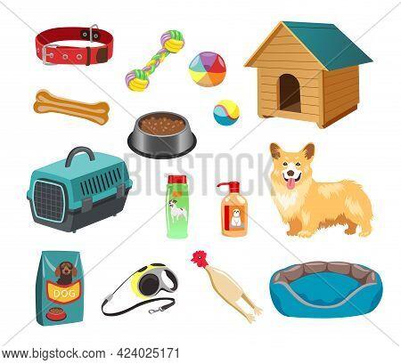 Dog With Its Food, Toys, Brush, Bowls Vector Illustration Set. Cartoon Animals Collar, Kennel, Balls