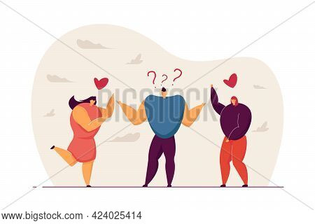 Male Teenager Choosing Between Two Lovers. Man Thinking Of Two Sweethearts And Having Tough Choice F
