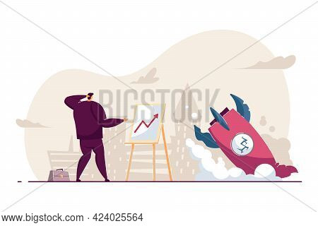 Confused Employee Facing Business Failure. Flat Vector Illustration. Businessman Looking At Diagram