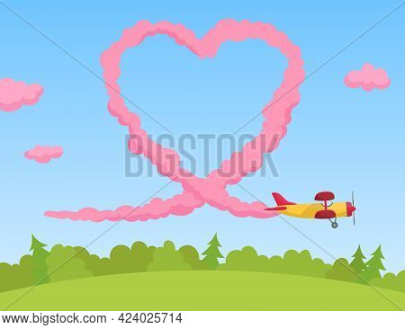 Aircraft Drawing Pink Heart In Sky Flat Vector Illustration. Cartoon Airplane Flying Above Forest. L
