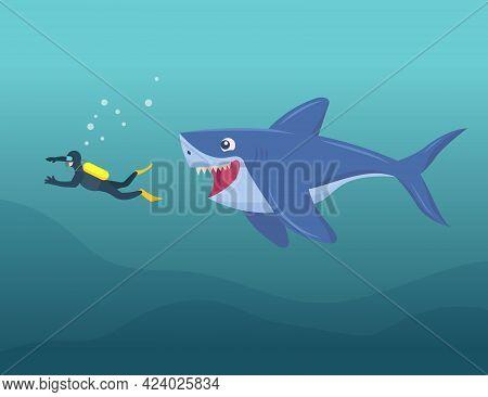 Happy Shark Attacking Diver Underwater Cartoon Illustration. Huge Shark Trying To Bite Person. Marin