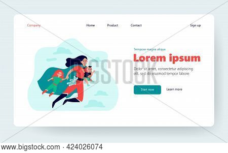 Happy Superhero Mother Flying And Carrying Children Flat Vector Illustration. Cartoon Busy Super Mom