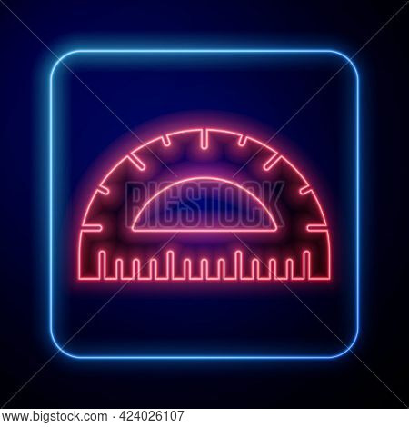 Glowing Neon Protractor Grid For Measuring Degrees Icon Isolated On Blue Background. Tilt Angle Mete
