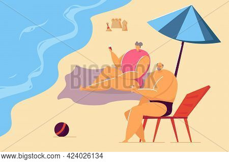 Old Couple Lying On Beach Flat Vector Illustration. Husband Drinking Beverage And Wife Taking Photo,