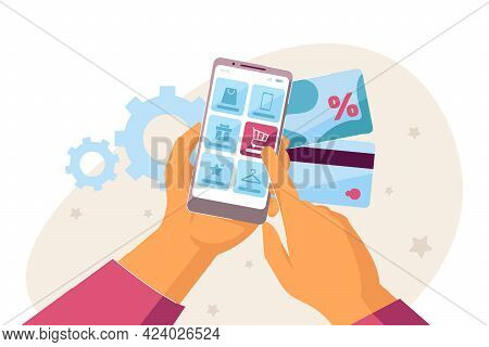 Doing Shopping Online With Smartphone And Credit Cards. Flat Vector Illustration. Two Hands Holding