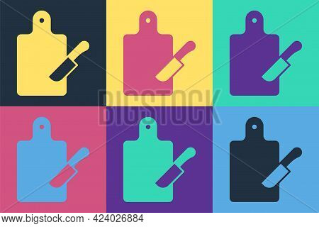 Pop Art Cutting Board And Knife Icon Isolated On Color Background. Chopping Board Symbol. Cutlery Sy