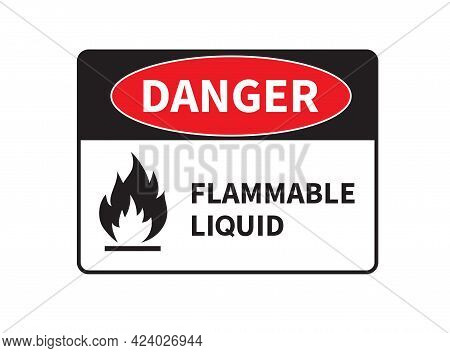 Danger Flammable Liquid Sign On White Background. Ghs Hazard Pictogram. Vector Illustration.