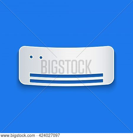 Paper Cut Air Conditioner Icon Isolated On Blue Background. Split System Air Conditioning. Cool And