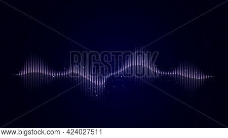 Sound Abstract Wave In Blue On A Dark Background. Abstract Vector Background