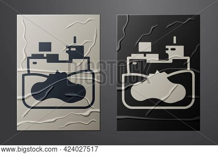 White Wrecked Oil Tanker Ship Icon Isolated On Crumpled Paper Background. Oil Spill Accident. Crash