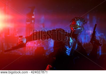 Game, virtual reality. A courageous cyberpunk warrior fights with guns in his hands against the backdrop of the night city of the future. Cyberpunk concept.