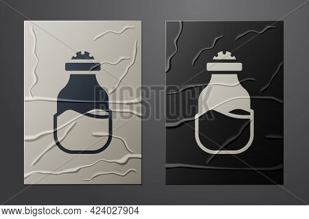 White In Can Icon Isolated On Crumpled Paper Background. Seasoning Collection. , Condiments In A Gla