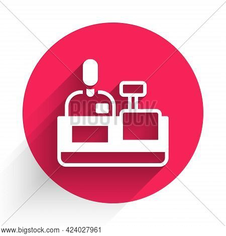 White Cashier At Cash Register Supermarket Icon Isolated With Long Shadow. Shop Assistant, Cashier S