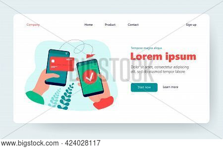 Hands Holding Cellphones And Sending Money From Electronic Wallet Flat Vector Illustration. Cartoon