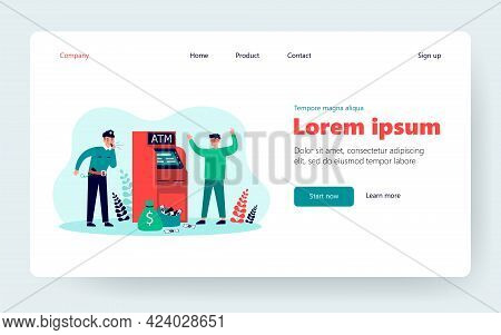 Fraud Attacking Atm. Police Man Catching Criminal In Mask At Cash Machine. Vector Illustration For S