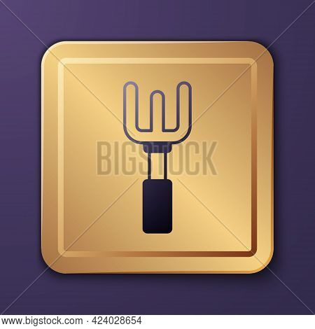 Purple Garden Rake Icon Isolated On Purple Background. Tool For Horticulture, Agriculture, Farming.