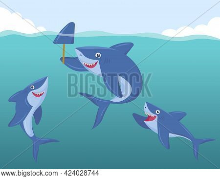 Funny Sharks Underwater Scaring People With Fake Dorsal Fin. Cartoon Animals Having Fun Flat Vector