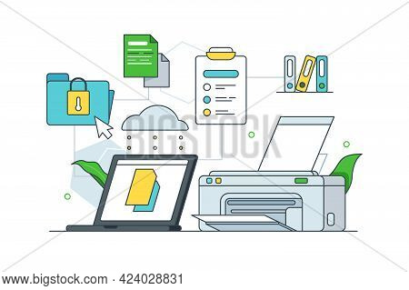 Printing And Storing Physical Documents Vector Illustration. Folders With Papers, Printer And Laptop