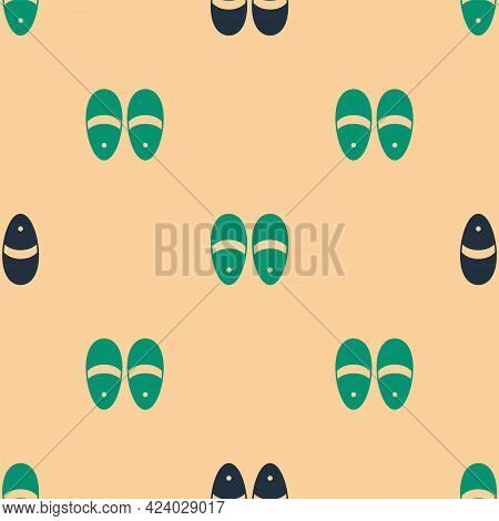 Green And Black Slippers Icon Isolated Seamless Pattern On Beige Background. Flip Flops Sign. Vector