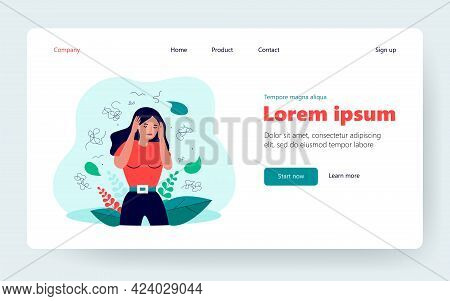 Nervous Woman With Mental Problem Feeling Anxiety Isolated Flat Vector Illustration. Cartoon Charact