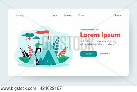 Businessman Climbing On Mountain Through Obstacles Isolated Flat Vector Illustration. Cartoon Person