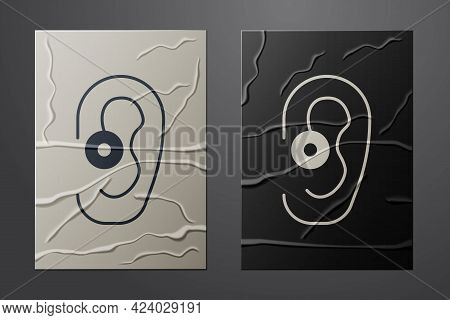 White Hearing Aid Icon Isolated On Crumpled Paper Background. Hearing And Ear. Paper Art Style. Vect