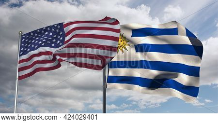 American and argentina flag waving against clouds in blue sky. international relations and affairs concept
