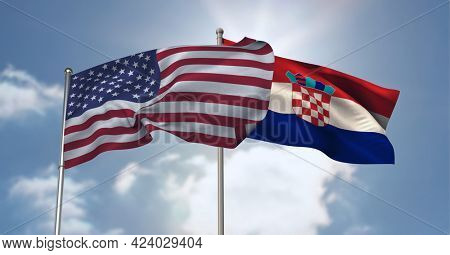 American and crotian flag waving against clouds in blue sky. international relations and affairs concept