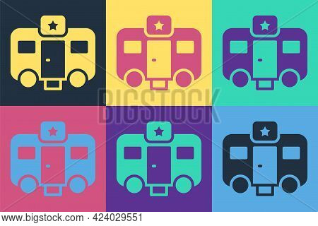 Pop Art Machine Trailer Dressing Room For Actors Icon Isolated On Color Background. Movie Crew Rest