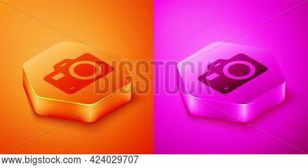 Isometric Photo Camera Icon Isolated On Orange And Pink Background. Foto Camera. Digital Photography