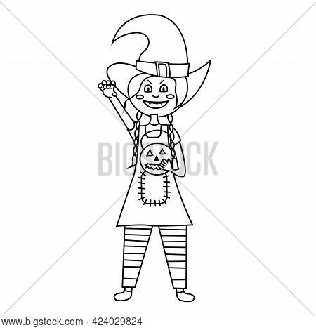 Coloring Page Halloween Kid Girl Character. Girl Scares For Halloween. Happy Halloween. Child In Col
