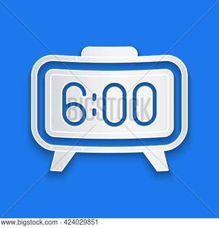 Paper Cut Digital Alarm Clock Icon Isolated On Blue Background. Electronic Watch Alarm Clock. Time I