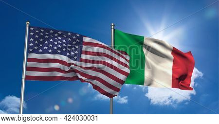 American and italian flag waving against clouds in blue sky. international relations and affairs concept