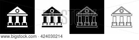 Set Courthouse Building Icon Isolated On Black And White Background. Building Bank Or Museum. Vector
