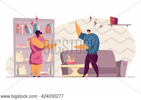 Family Couple Arguing In Living Room. Flat Vector Illustration. Angry Wife And Husband Having Confli