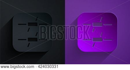Paper Cut Barbed Wire Icon Isolated On Black On Purple Background. Paper Art Style. Vector