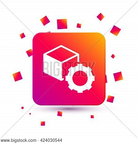 White Isometric Cube Icon Isolated On White Background. Geometric Cubes Solid Icon. 3d Square Sign.