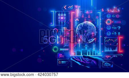 5g Internet Communications Concept. Iot Technology In Smart City Of Future. Global Wireless Network