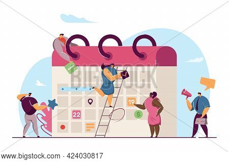 Business Team Planning Events For Month With Giant Calendar. Flat Vector Illustration. Office Worker